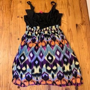 Ikat and black dress